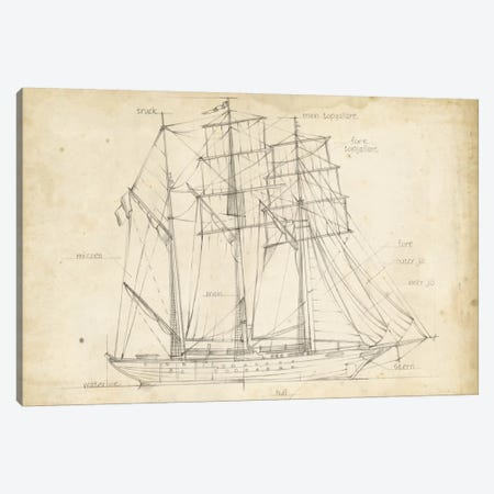 Sailboat Blueprint I Canvas Print #EHA136} by Ethan Harper Canvas Art Print