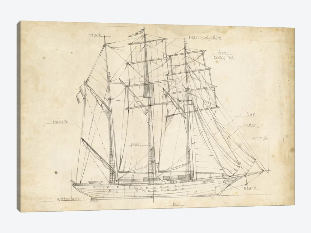 Sailboat blueprint i canvas art print by ethan harper icanvas sailboat blueprint i by ethan harper 1 piece art print malvernweather Image collections