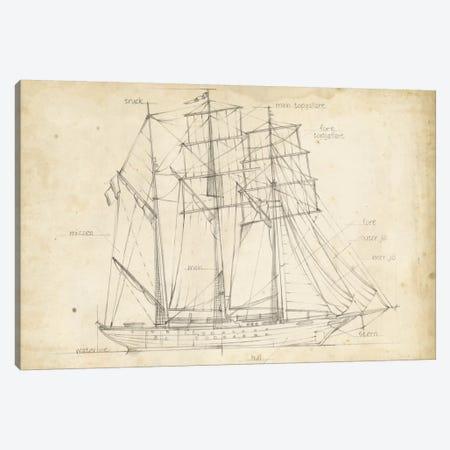 Sailboat Blueprint I Canvas Print #EHA136} by Ethan Harper Canvas Art Print