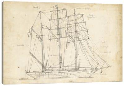 Sailboat Blueprint I Canvas Art Print