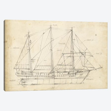 Sailboat Blueprint II Canvas Print #EHA137} by Ethan Harper Canvas Print