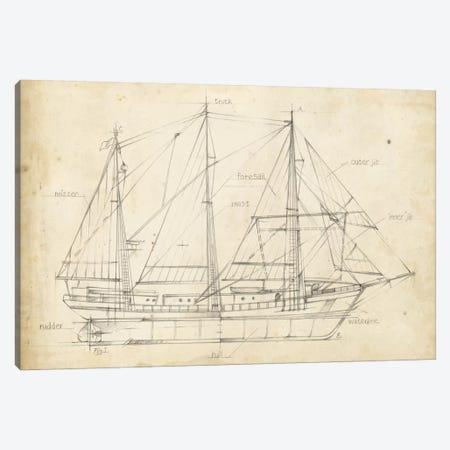 Sailboat Blueprint II Canvas Print #EHA137} by Ethan Harper Canvas Print