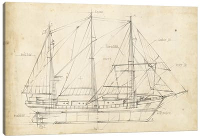 Sailboat Blueprint II Canvas Art Print