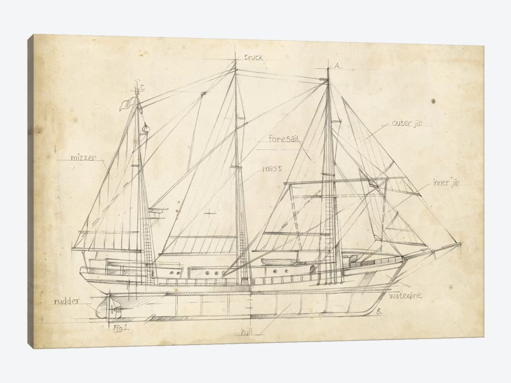 Sailboat Blueprint II by Ethan Harper 1-piece Canvas Wall Art