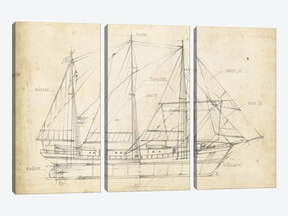Sailboat Blueprint II by Ethan Harper 3-piece Canvas Wall Art