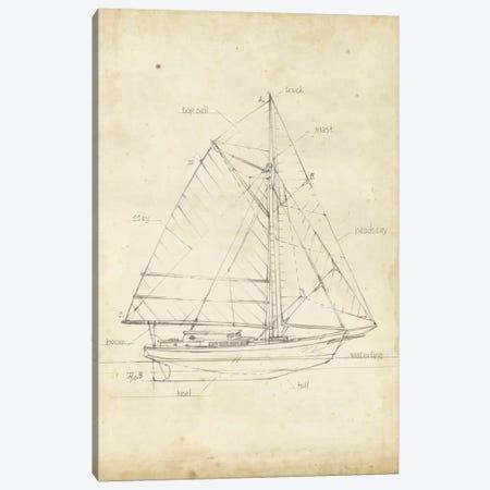 Sailboat Blueprint III Canvas Print #EHA138} by Ethan Harper Canvas Wall Art