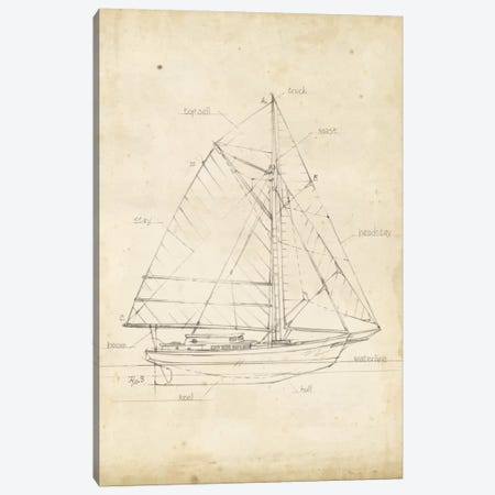 Sailboat Blueprint III Canvas Print #EHA138} by Ethan Harper Canvas Wall Art