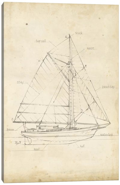 Sailboat Blueprint III Canvas Art Print