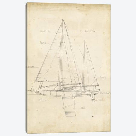 Sailboat Blueprint IV Canvas Print #EHA139} by Ethan Harper Canvas Artwork