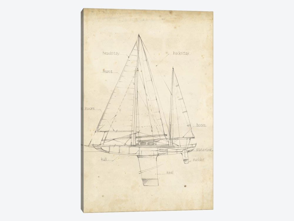 Sailboat Blueprint IV by Ethan Harper 1-piece Canvas Art