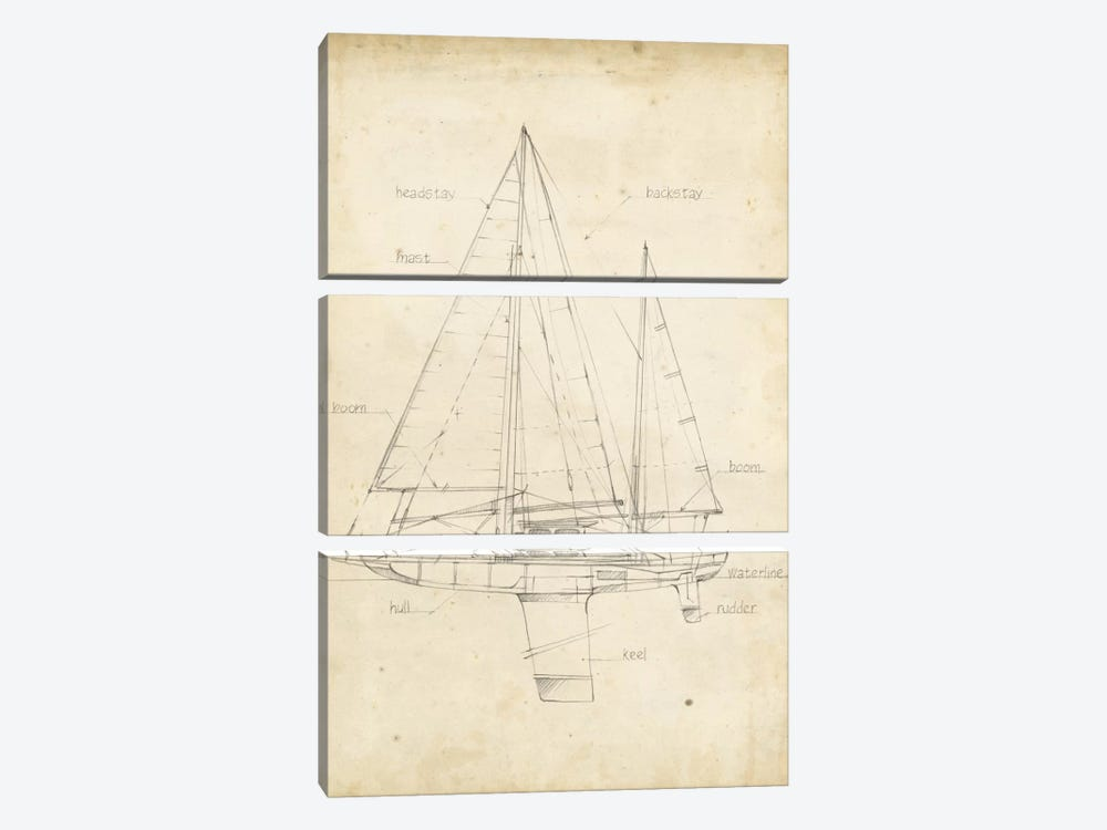 Sailboat Blueprint IV by Ethan Harper 3-piece Canvas Art
