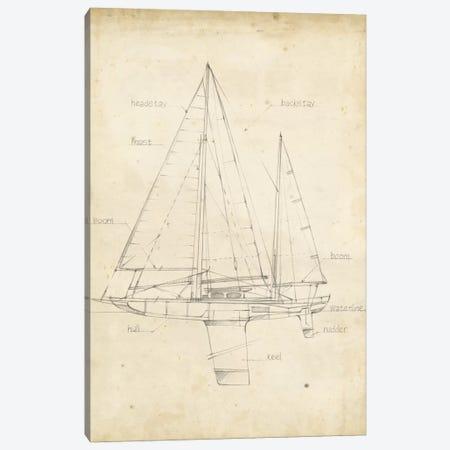 Sailboat Blueprint IV Canvas Print #EHA139} by Ethan Harper Canvas Artwork
