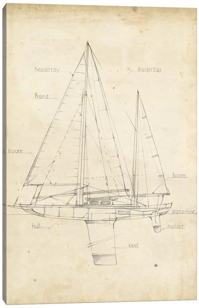 Sailboat Blueprint IV Canvas Art Print