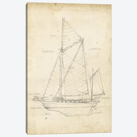 Sailboat Blueprint V Canvas Print #EHA140} by Ethan Harper Canvas Print