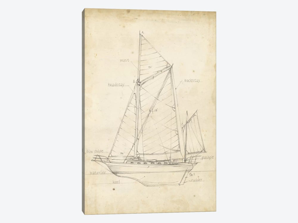 Sailboat Blueprint V by Ethan Harper 1-piece Canvas Wall Art