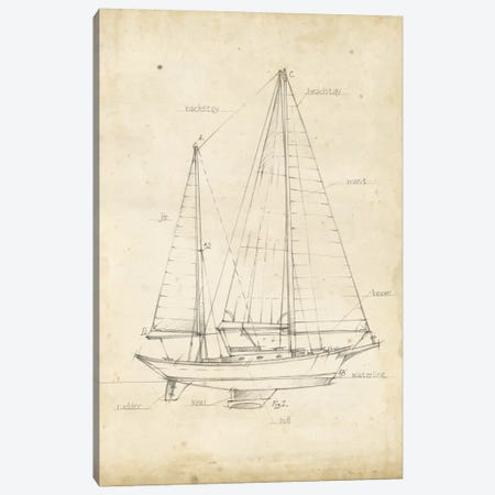 Sailboat Blueprint VI Canvas Print #EHA141} by Ethan Harper Canvas Art Print