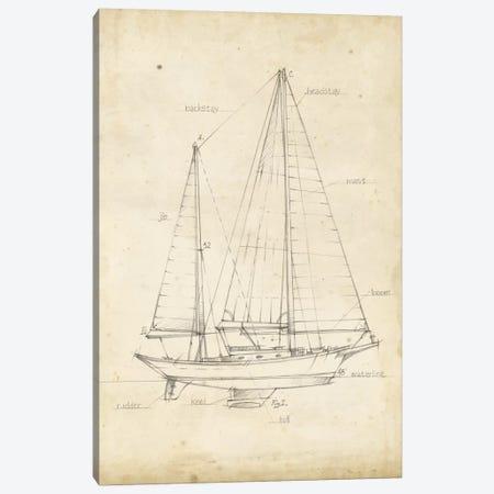 Sailboat Blueprint VI Canvas Print #EHA141} by Ethan Harper Canvas Art Print