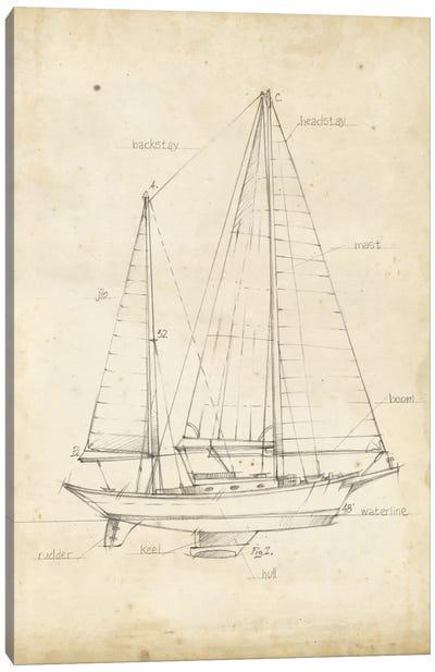 Sailboat Blueprint VI Canvas Art Print