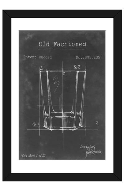 Barware Blueprint I Framed Art Print