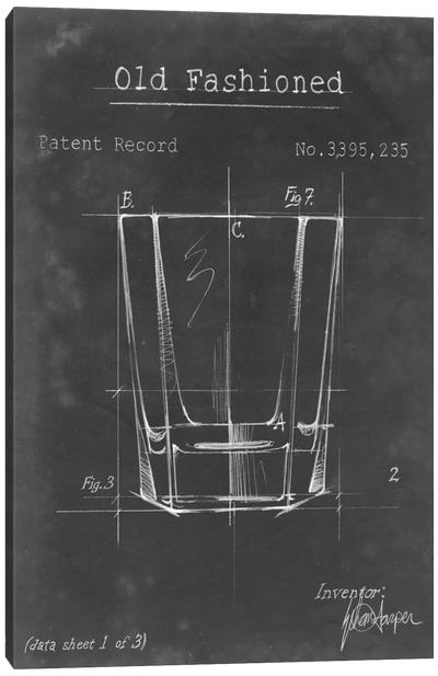 Barware Blueprint I Canvas Art Print