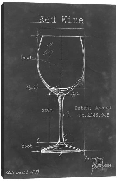 Barware Blueprint III Canvas Art Print