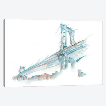 Watercolor Bridge Sketch I Canvas Print #EHA184} by Ethan Harper Canvas Wall Art