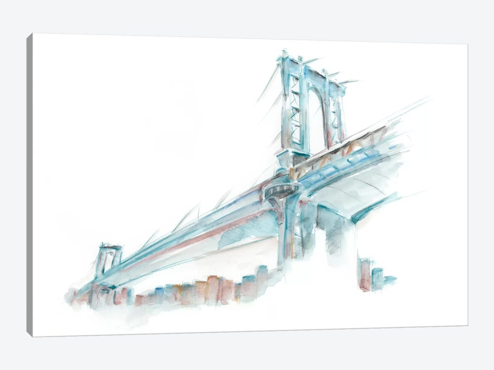 Watercolor Bridge Sketch I 1-piece Canvas Art