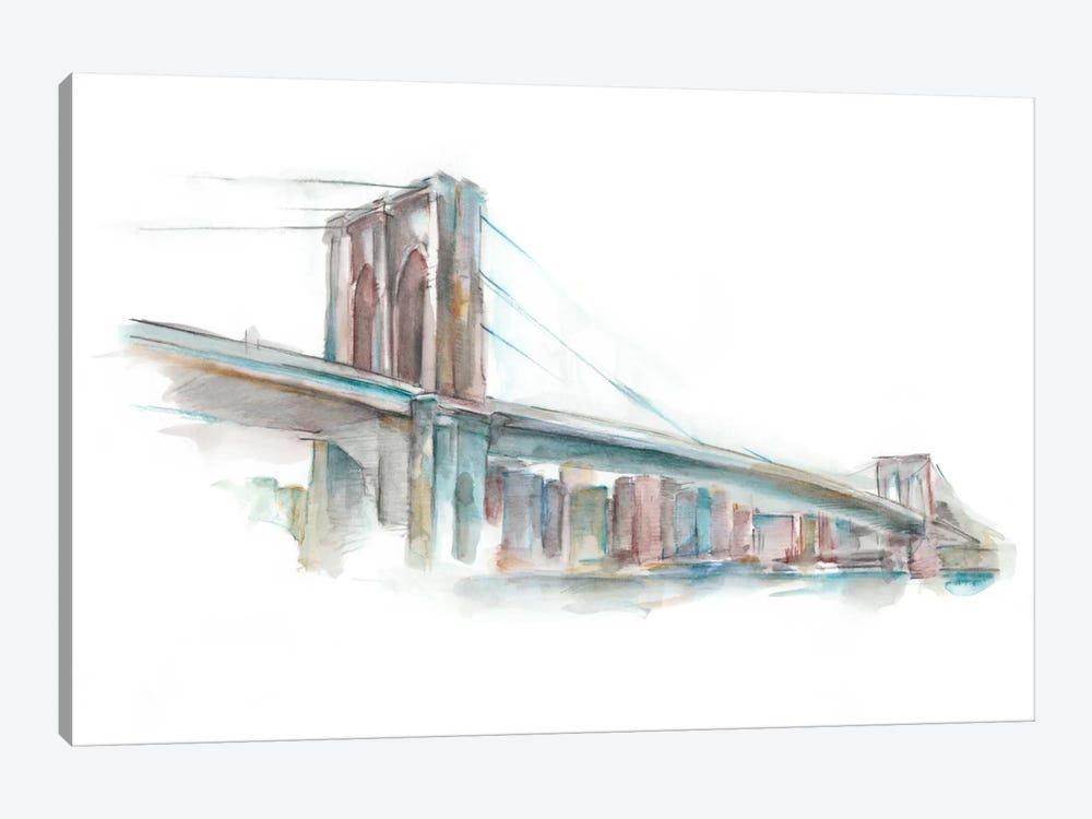 Watercolor Bridge Sketch II by Ethan Harper 1-piece Canvas Art Print