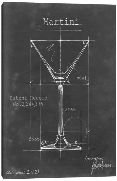 Barware Blueprint V Canvas Art Print