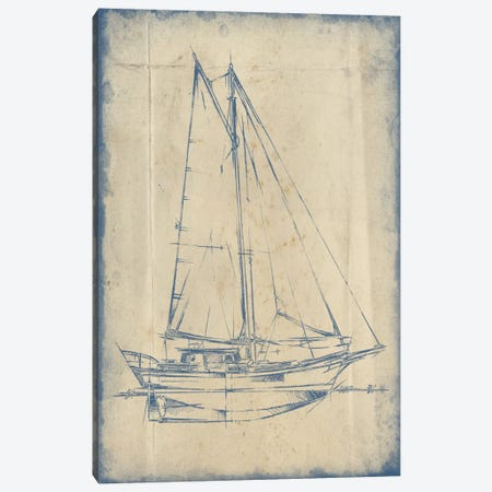Yacht Blueprint III Canvas Print #EHA229} by Ethan Harper Canvas Art