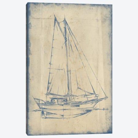 Yacht Blueprint III Canvas Print #EHA229} by Ethan Harper Canvas Art