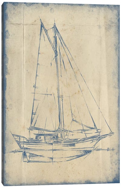 Yacht Blueprint III Canvas Art Print