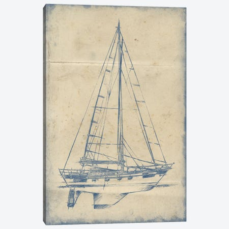 Yacht Blueprint IV Canvas Print #EHA230} by Ethan Harper Art Print