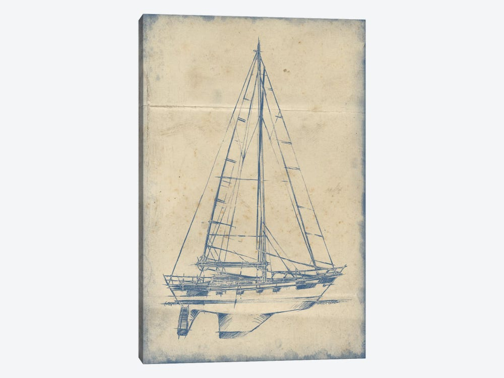 Yacht Blueprint IV by Ethan Harper 1-piece Canvas Art Print