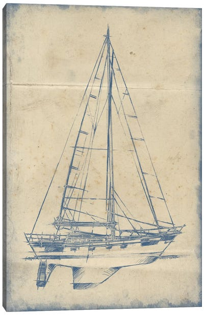 Yacht Blueprint IV Canvas Art Print