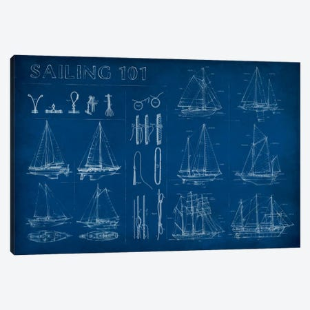 Sailing Infograph Canvas Print #EHA281} by Ethan Harper Canvas Wall Art