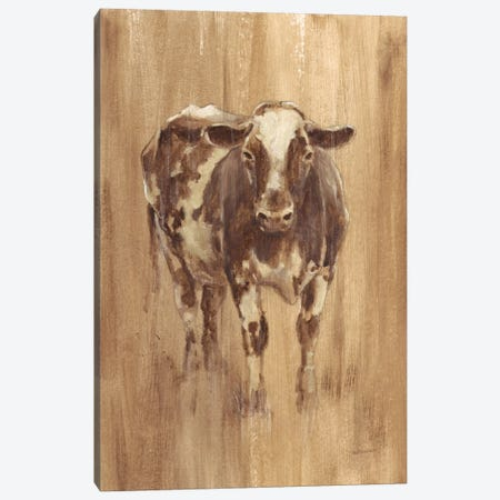 Wood Panel Cow Canvas Print #EHA294} by Ethan Harper Canvas Artwork