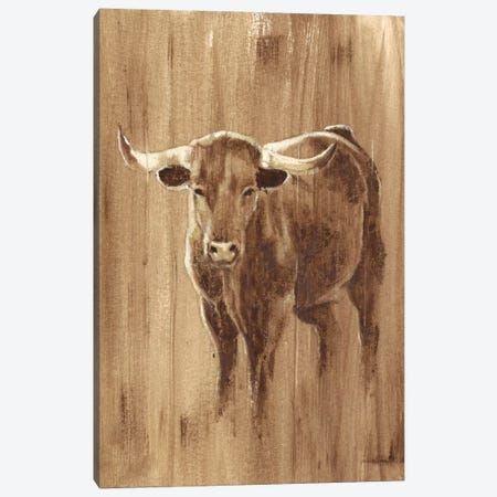 Wood Panel Longhorn Canvas Print #EHA295} by Ethan Harper Canvas Art
