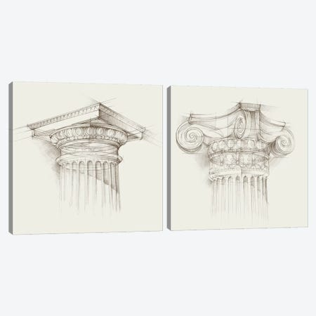 Column Schematic Diptych Canvas Print Set #EHA2HSET003} by Ethan Harper Canvas Art