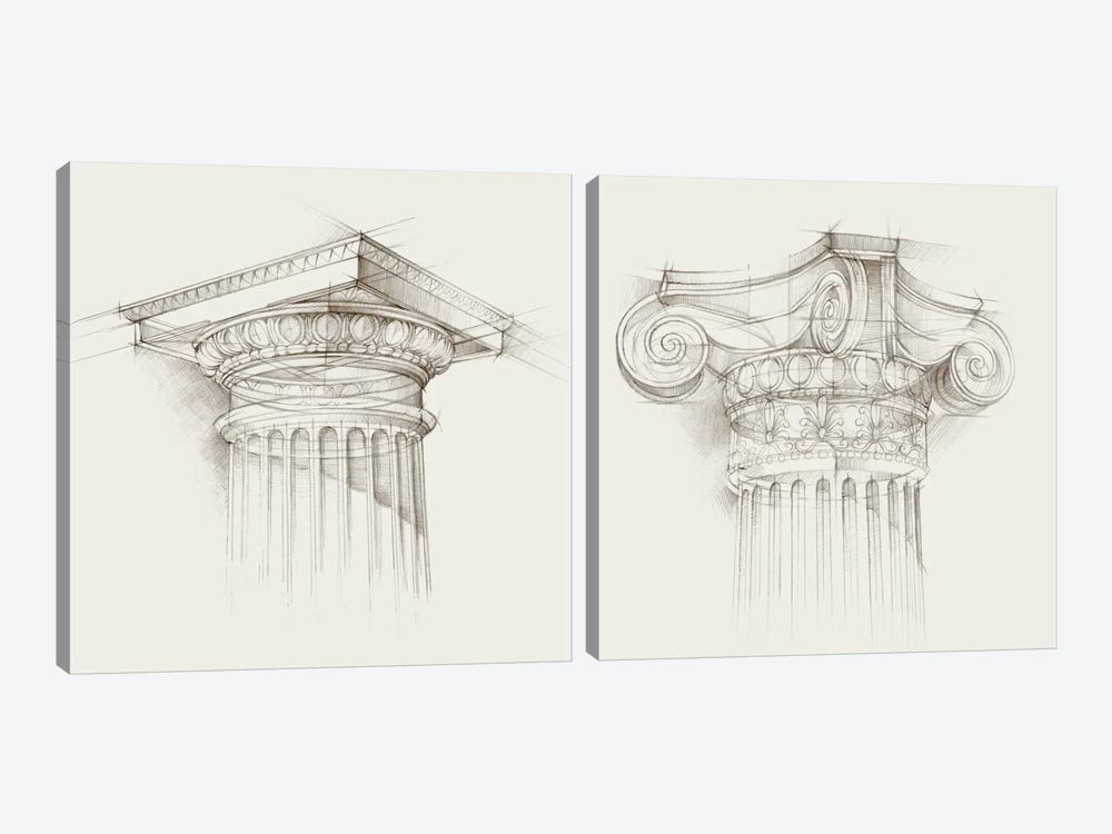 Column Schematic Diptych by Ethan Harper 2-piece Art Print