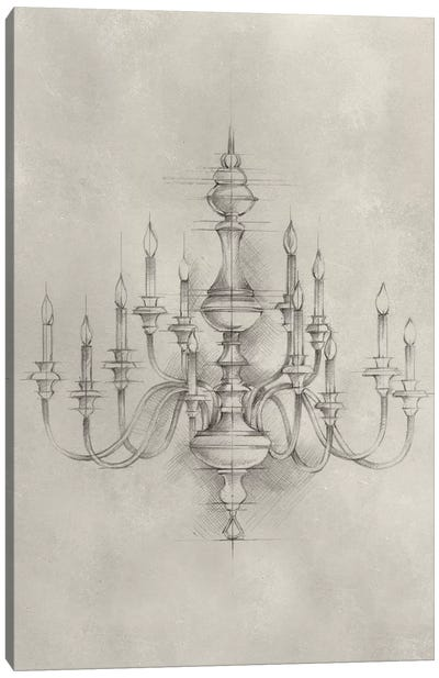 Chandelier Schematic I Canvas Art Print