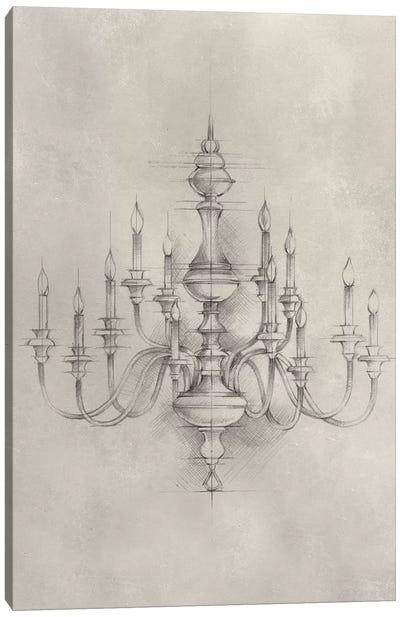 Chandelier Schematic I Canvas Art Print