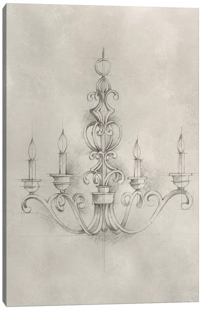 Chandelier Schematic III Canvas Art Print