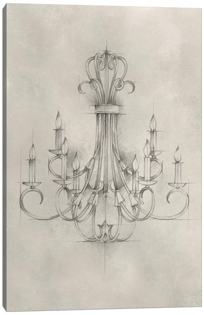 Chandelier Schematic IV Canvas Art Print