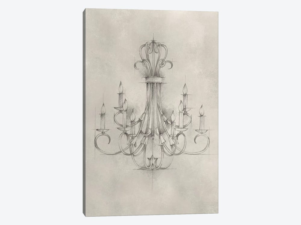 Chandelier Schematic IV by Ethan Harper 1-piece Canvas Wall Art