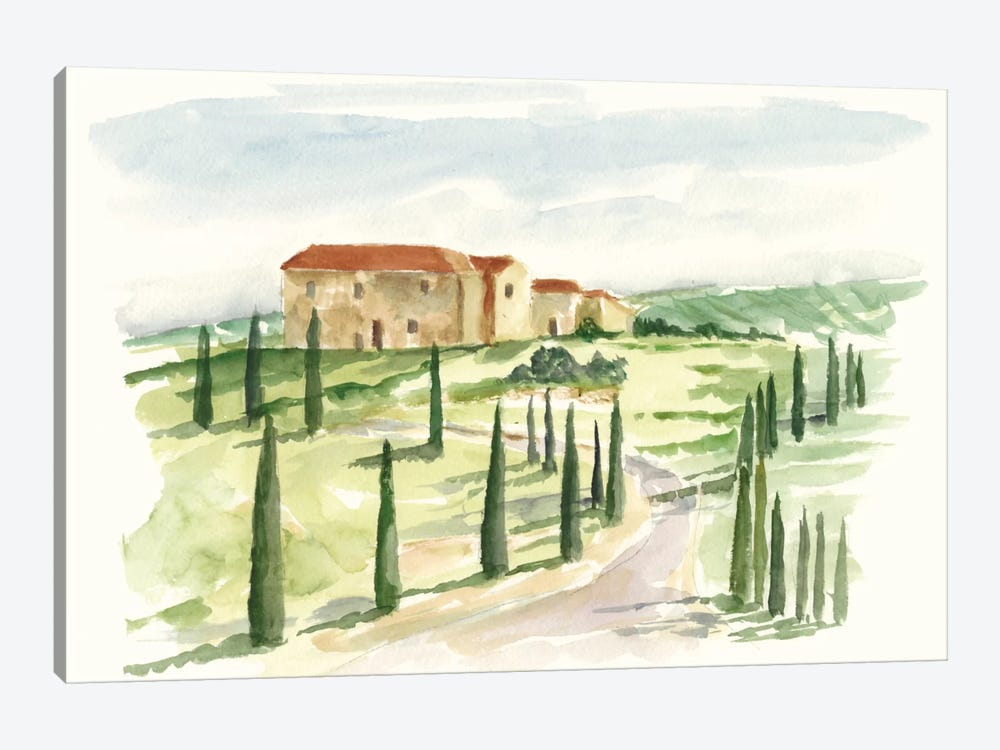 Watercolor Tuscan Villa I by Ethan Harper 1-piece Canvas Artwork