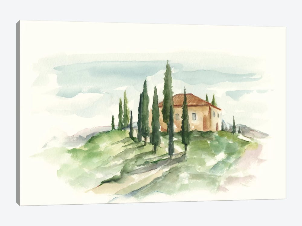 Watercolor Tuscan Villa II by Ethan Harper 1-piece Canvas Art Print