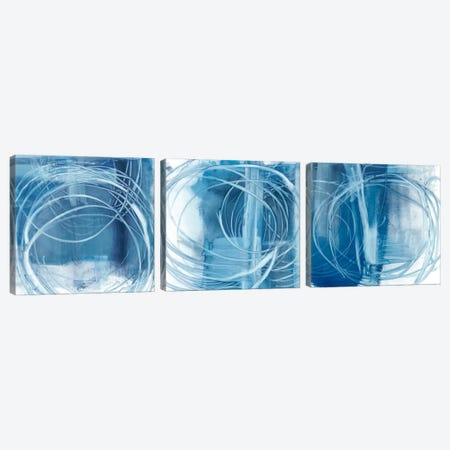 Indigo Expression Triptych Canvas Print Set #EHA3HSET001} by Ethan Harper Canvas Wall Art