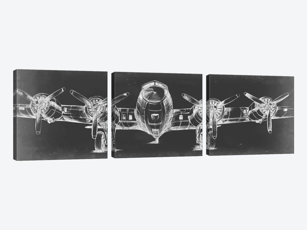 Graphic Plane Triptych 3-piece Canvas Art Print
