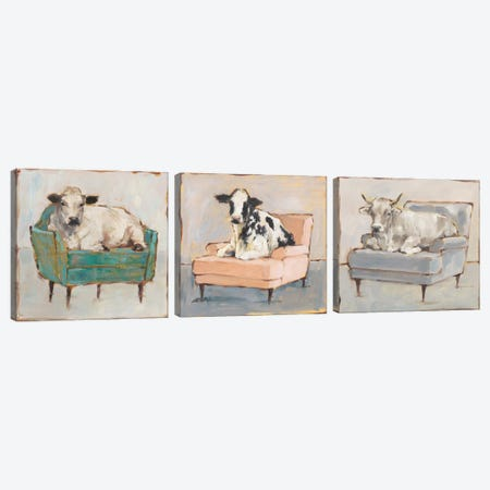Moo-ving In Triptych Canvas Print Set #EHA3HSET003} by Ethan Harper Canvas Artwork